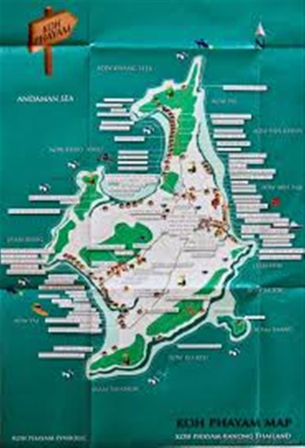 Карта острова Ко Паям. Koh Phayam map.