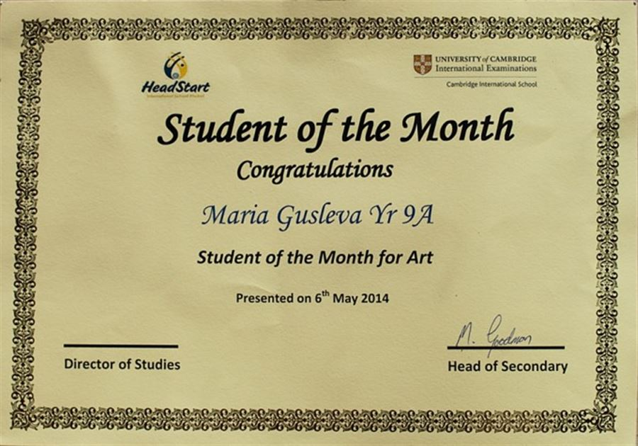 Sstudent of the Month Art