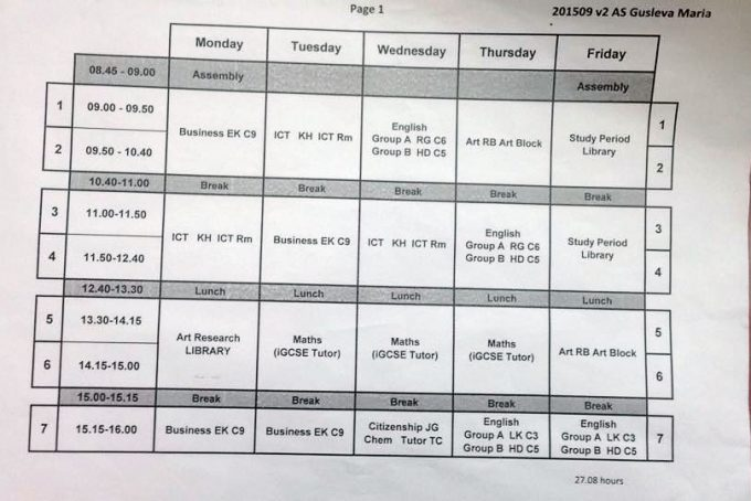 The Abbey college A level timetable