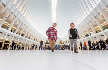 Kids running around the Oculus