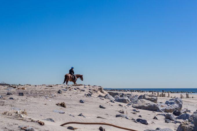 Конный полицейский на пляже в Нью Йорке, на Лонг Айленд