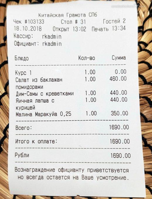Стоимость обеда в ресторане Китайская Грамота Питер