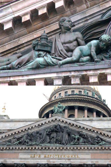 Горельеф с Монферраном держащим модель собора