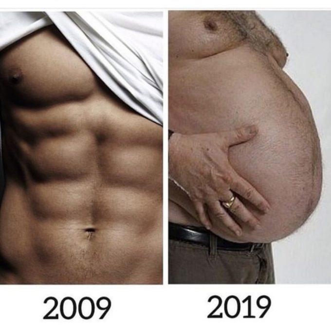10yearschallenge большой живот у мужчины