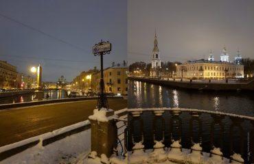Пикалов мост в Петербурге и вид с него на Никольский собор