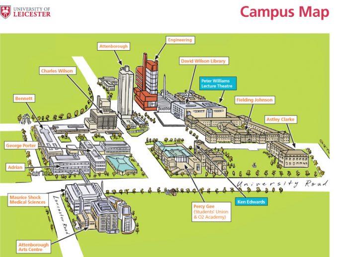 Схема университетского городка Лестер, Англия campus map