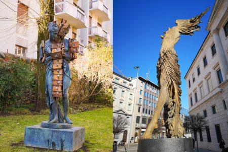 Скульптура на улицах нижнего Бергамо
