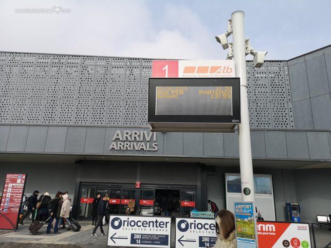 Остановка автобуса №1 Аэропорт-Верхний город Бергамо