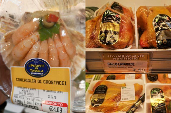Цены на креветки и курицу в Милане